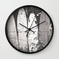 surfing Wall Clocks featuring surfing by short stories gallery