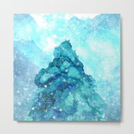 Snowy Landscape with a Giant Pine Metal Print