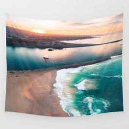 Sky view for the beach in the sunset Wall Tapestry