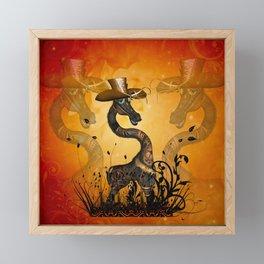 Funny steampunk giraffe with hat Framed Mini Art Print