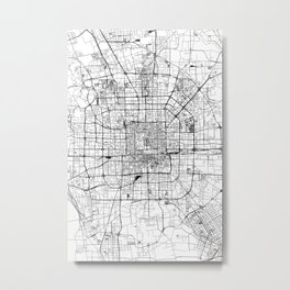 Beijing White Map Metal Print