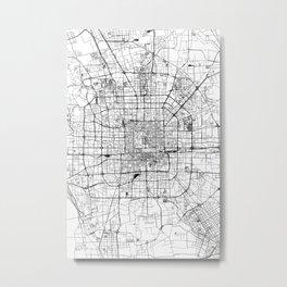 Beijing White Map Metal Print