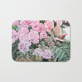 A LIFE TIME COMMITMENT - Pink Rose And Anthurium - Original Fine Art Floral painting by HSIN LIN Bath Mat