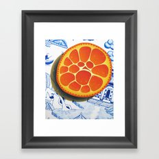 Orange on plate made where they speak Mandarin Framed Art Print