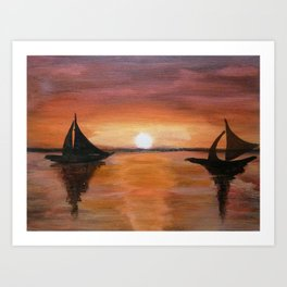 Sunset at Ocean and Boats Scenery painting Art Print