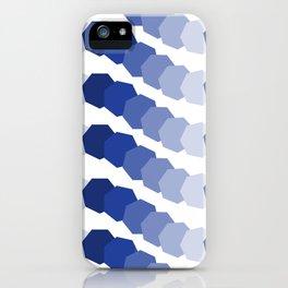 Monochromatic Blue Heptagon Waves iPhone Case