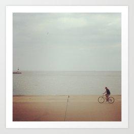 Biking along the Lake Art Print