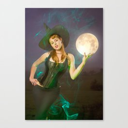 """""""Moonlighting"""" - The Playful Pinup - Halloween Witch Pin-up Girl by Maxwell H. Johnson Canvas Print"""