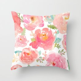 Pink Peonies Watercolor Pattern Throw Pillow