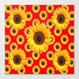 Chinese RED Color Sunflower Patterns on Orange & Purple Color Canvas Print