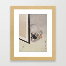 Cat Watching a Spider Japanese Painting Framed Art Print