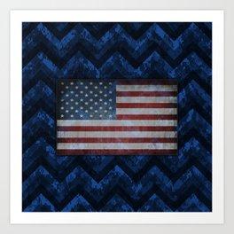 Cobalt Blue Digital Camo Chevrons with American Flag Art Print