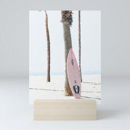 Pastel Pink Surfboard at Beach Mini Art Print