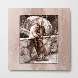 Love in the rain style MistyRose Metal Print