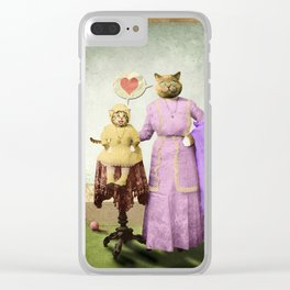 Momma Kitty Loves Her Kitten Clear iPhone Case