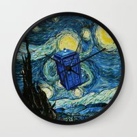 marauders Wall Clocks featuring Tardis Dr. Who Starry Night by neutrone