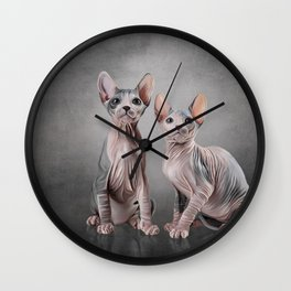 Drawing two cats Sphynx, hairless Wall Clock