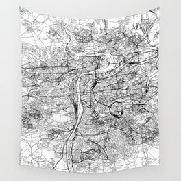 Prague White Map Wall Tapestry