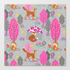 Foxes in Galoshes - Pink and Gray Canvas Print