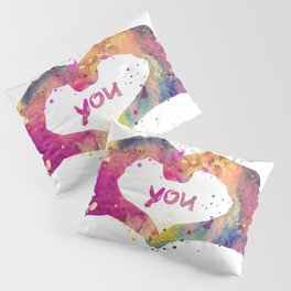 Heart Watercolor Art Print Love Hands Valentine's Day Pillow Sham