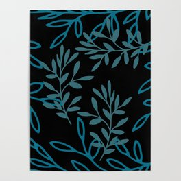 Leafy Teal Poster
