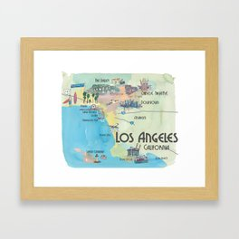 Greater Los Angeles Fine Art Print Retro Vintage Map with Touristic Highlights in colorful retro pri Framed Art Print
