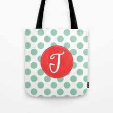 Monogram Initial T Polka Dot Tote Bag