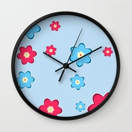 vintage fantasy flowers over blue Wall Clock