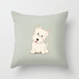 Cute Westie Puppy Dog Illustration Throw Pillow