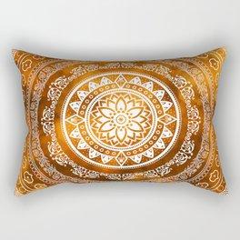 'Golden Destiny' Gold Orange & White Flower Of Life Boho Mandala Design Rectangular Pillow