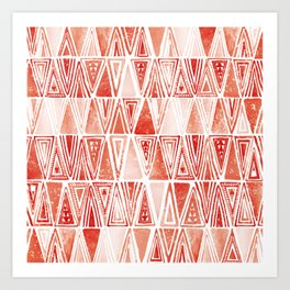 Modern Coral Tribal Ethnic Triangles Pattern Art Print