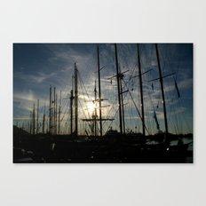 sailboat on the sunrise Canvas Print