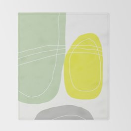 Yellow and Green Abstract Art. Scandinavian Style Decor. Minimalist Decor Throw Blanket