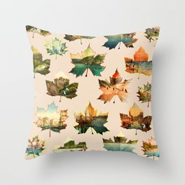 Memory in Leaves Throw Pillow