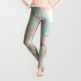 MERMAID SHELLS - MINT & ROSEGOLD Leggings