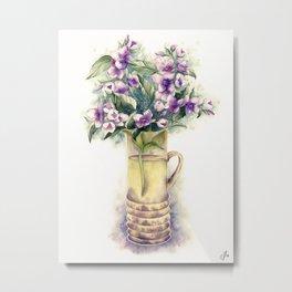 Jasmine bouquet in a flower vase Metal Print