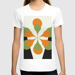 Mid-Century Modern Art 1.4 - Green & Orange Flower T-shirt