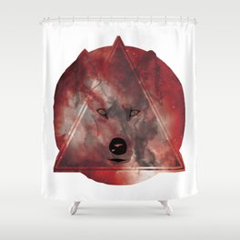 Wolf Head With Moon/Galaxy Design RED Shower Curtain