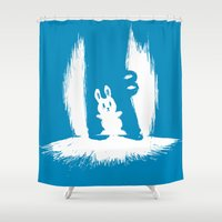 crocodile Shower Curtains featuring cornered! (bunny and crocodile) by Picomodi
