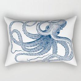 Blue nautical vintage octopus illustration Rectangular Pillow
