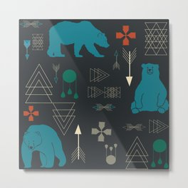 Tribal Bear Metal Print
