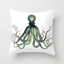 Octopus marine life watercolor art Throw Pillow
