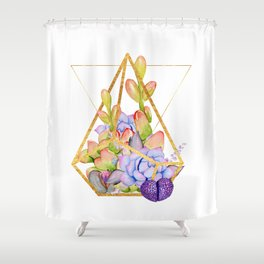 Succulent Geometry gold wire geometric frames Shower Curtain
