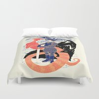 knight Duvet Covers featuring The Knight, Death, & the Devil by Andrew Henry