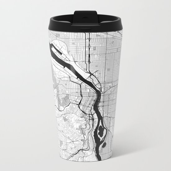 Portland Map Gray Metal Travel Mug