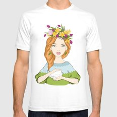 Spring girl SMALL White Mens Fitted Tee