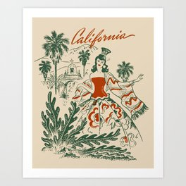 Vintage California Lady Art Print