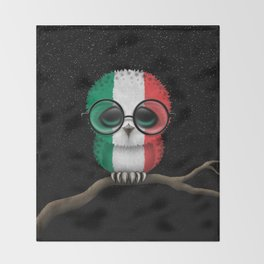 Baby Owl with Glasses and Italian Flag Throw Blanket