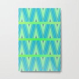 Zig Zag pattern light blue and green 1 Metal Print