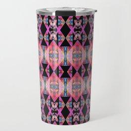 Diamond Geometric Power Pattern in Broad Spectrum Pink Travel Mug